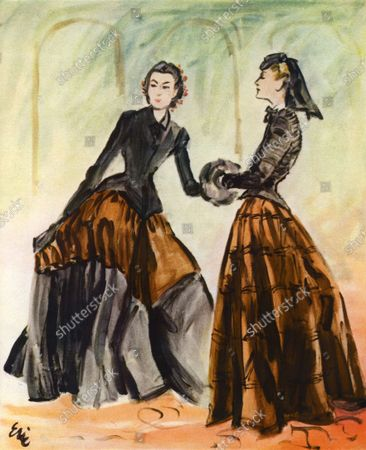 Illustration of two models in nineteenth-century inspired black and brown gowns, suggesting Constantin Guys' Second Empire ladies, by Balenciaga. Left, a silk velvet jacket and dress, faille-banded; right, a Bruyère's silk faille dress, with satin jacket and felt hat with veil.