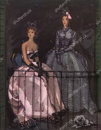 Illustration of two models and a small dog sitting on a balcony, a pink satin with black lace ball gown and an ostrich bow-knot on the head and a slate taffeta jacket and pannier skirt with a slate-blue orchid coiffure, both by Balenciaga, inspired by the painter Goya.