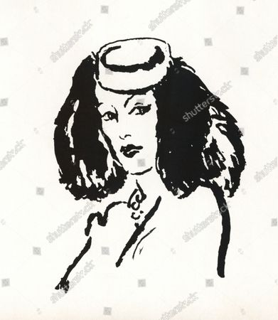 Illustration of a model wearing Balenciaga's Velasquez hat, of violet felt, flanked with fox tails. Made by Legroux.