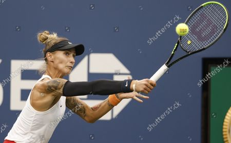 Polona Hercog of Slovenia in action against Petra Kvitova of the Czech Republic  during their match on the second day of the US Open Tennis Championships at the USTA National Tennis Center in Flushing Meadows, New York, USA, 31 August 2021. The US Open runs from 30 August through 12 September.