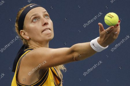 Petra Kvitova of the Czech Republic in action against Polona Hercog of Slovenia during their match on the second day of the US Open Tennis Championships at the USTA National Tennis Center in Flushing Meadows, New York, USA, 31 August 2021. The US Open runs from 30 August through 12 September.