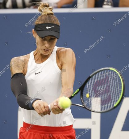 Stock Photo of Polona Hercog of Slovenia in action against Petra Kvitova of the Czech Republic  during their match on the second day of the US Open Tennis Championships at the USTA National Tennis Center in Flushing Meadows, New York, USA, 31 August 2021. The US Open runs from 30 August through 12 September.
