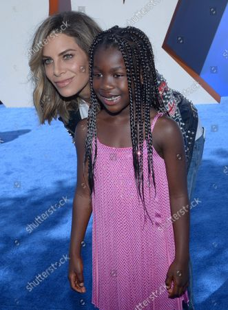 """Stock Picture of TV personality Jillian Michaels and her daughter daughter Lukensia Michaels Rhoades attend the premiere of the animated motion picture comedy """"Storks"""" at the Regency Village Theater in the Westwood section of Los Angeles on September 17, 2016. Storyline: Storks deliver babies...or at least they used to. Now they deliver packages for global internet giant Cornerstore.com. Junior, the company's top delivery stork, is about to be promoted when he accidentally activates the Baby Making Machine, producing an adorable and wholly unauthorized baby girl."""