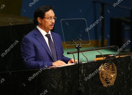 Sheikh Jaber Al-Mubarak Al-Hamad Al Sabah, prime minister of Kuwait, addresses the 71st session of the General Debate of the United Nations General Assembly at the UN in New York City on September 21, 2016.