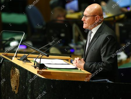 Tammam Salam, president of the council of ministers of Lebanon, addresses the 71st session of the General Debate of the United Nations General Assembly at the UN in New York City on September 22, 2016.