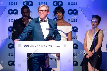 Adrian Dunbar, winner of the 'Television Actor' award, with Idris Elba, Sabrina Dhowre Elba and Vicky McClure