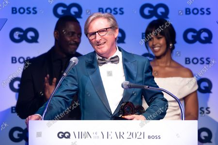 Adrian Dunbar, winner of the 'Television Actor' award, with Idris Elba and Sabrina Dhowre Elba