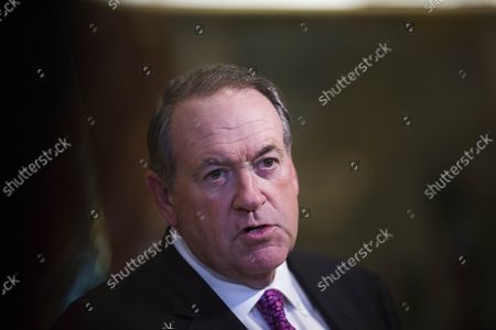 Mike Huckabee, former governor of Arkansas speaks at Trump Tower in Trump Tower in Manhattan, New York, on Friday, November 18, 2016.