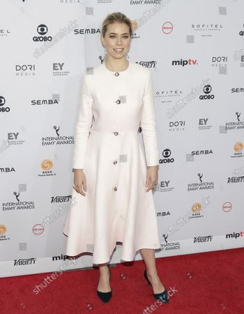 Birgitte Hjort Sorensen arrives on the red carpet at the 44th International Emmy Awards at the New York Hilton in New York City on November 21, 2016.