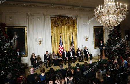 President Barack Obama delivers remarks at an event for the 2016 Kennedy Center Honorees, in the East Room of the White House, December 4, 2016. The honorees include pianist Martha Argerich, actor Al Pacino, singer Mavis Staples, singer James Taylor and Eagles band members Don Henley, Timothy B. Schmit, Joe Walsh.