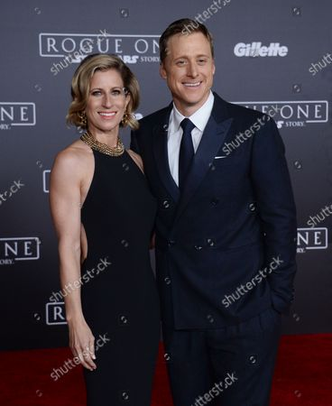 """Cast member Alan Tudyk and choreographer Charissa Barton attend the premiere of the sci-fi motion picture """"Rogue One: A Star Wars Story'"""" at the Pantages Theatre in the Hollywood section of Los Angeles on December 10, 2016. Storyline: The Rebellion makes a risky move to steal the plans to the Death Star, setting up the epic saga to follow."""