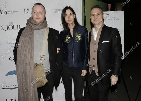 """Mary McCartney,  James McCartney and Jason Binn arrive on the red carpet at a screening of """"This Beautiful Fantastic"""" at SVA Theatre on December 19, 2016 in New York City."""