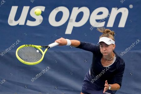 Stock Photo of Barbora Krejcikova, of the Czech Republic, serves to Christina McHale, of the United States, during the second round of the US Open tennis championships, in New York