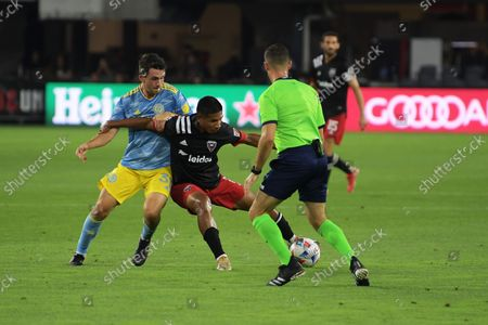 DC United attacker Edison Flores and Philadelphia Defender Jack Elliot fight the ball during the match DC United vs Philadelphia, today on August 28, 2021 at Audi Field in Washington DC, USA.  Final score DC United 3 Philadelphia 1