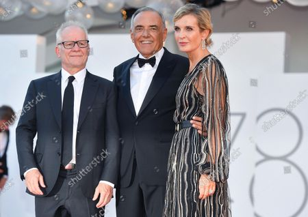 Director of the Cannes International Film Festival, Thierry Fremaux (L), Director of the 78th Venice Film Festival, Alberto Barbera (C) and Producer Melita Nikolic Toscan du Plantie arrive for the opening ceremony and screening of 'Madres Paralelas' (Parallel Mothers) at the 78th annual Venice International Film Festival, in Venice, Italy, 01 September 2021. The movie is presented in the official competition 'Venezia 78' at the film festival running from 01 to 11 September 2021.