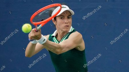 Christina McHale, of the United States, returns a shot to Barbora Krejcikova, of the Czech Republic, during the second round of the US Open tennis championships, in New York