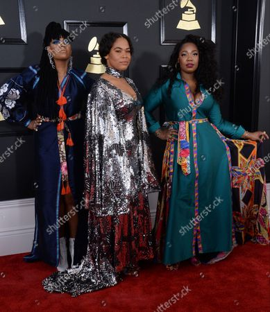 Stock Picture of Recording artists Amber Strother, Anita Bias, and Paris Strother of music group King arrive for the 59th annual Grammy Awards held at Staples Center in Los Angeles on February 12, 2017.