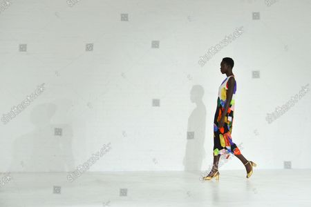 A model walks on the runway at the Mara Hoffman fashion show at New York Fashion Week: The Shows at Shop Studios on February 13, 2017 in New York City.