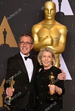Production designer David Wasco and set decorator Sandy Reynolds-Wasco, winners of the award for Production Design for 'La La Land', appear backstage during the 89th annual Academy Awards at Loews Hollywood Hotel in the Hollywood section of Los Angeles on February 26, 2017.