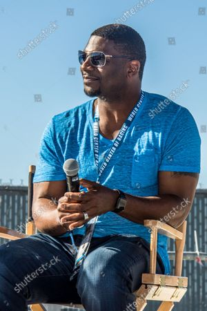 NFL Great Ladanian Tomlinson answers fan questions on February 26, 2017 in Daytona, Florida. Tomlinson is Honorary Starter for today's Daytona 500.