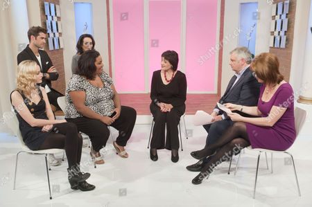 Alice Coulthard, Matt Johnson, Lesley Joseph, Alison Hammond, Facial exercise expert Eva Fraser aged 82 with presenters Eamonn Holmes and Ruth Langsford