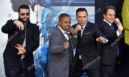 Cast of the original Mighty Morphin' Power Rangers (L-R) Austin St. John (Red Ranger), Walter Jones (Black Ranger), Jason David Frank (Green Ranger) and David Yost (Blue Ranger) attend the 'Power Rangers' premiere at the Westwood Village Theatre in Los Angeles on March 22, 2017.
