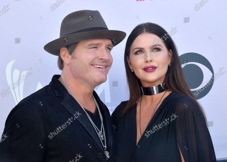 Recording artist Jerrod Niemann (L) and Morgan Petek attend the 52nd annual Academy of Country Music Awards held at T-Mobile Arena in Las Vegas, Nevada on April 2, 2017. The show will be telecast live on CBS.