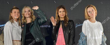 (L-R) Models Sofia Richie, Lottie Moss, Kenya Kinski-Jones and Sarah Snyder attend the fashion event for Samantha Thavasa in Tokyo, Japan on April 27, 2017.
