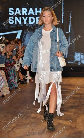 Model Sarah Snyder attends the fashion event for Samantha Thavasa in Tokyo, Japan on April 27, 2017.