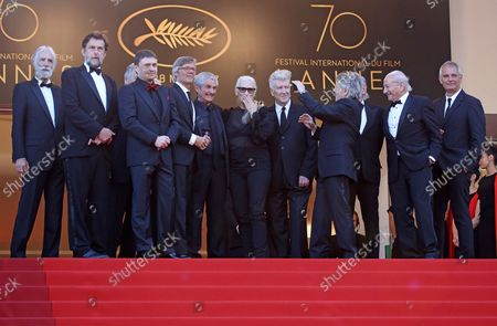 Former Palme d'or winners including Jane Campion, Ken Loach, Michael Haneke, Costa-Gavras, Cristian Mungiu, Nanni Moretti, David Lynch, Bille August, Claude Lelouch, Roman Polanski, Jerry Schatzberg, Mohammed Lakhdar-Hamina and Laurent Cantet arrive on the red carpet celebrating the 70th anniversary of the Cannes International Film Festival in Cannes, France on May 23, 2017.