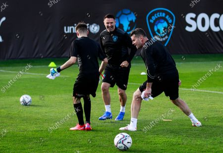 Shay Given of World XI and Robbie Keane Coach of World XIduring a training session for Soccer Aid for UNICEF 2021.