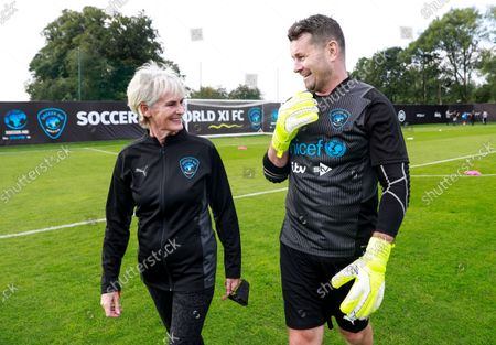 Judy Murray Celebrity Manager of World XI and Shay Given of World XI during a training session for Soccer Aid for UNICEF 2021.