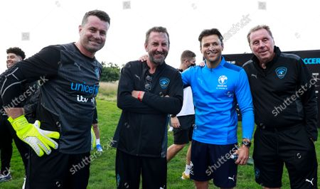 Shay Given of World XI, Lee Mack of World XI, Mark Wright of England and Harry Redknapp Manager of World XI during a training session for Soccer Aid for UNICEF 2021.