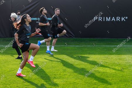 Chelcee Grimes of World XI, Kem Cetinay of World XI and Shay Given of World XI during a training session for Soccer Aid for UNICEF 2021.
