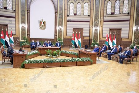 Palestinian president Mahmoud Abbas , Egyptian President Abdel Fattah al-Sisi, and Jordanian King Abdullah II, attend the tripartite summit, in cairo, Egypt, on September 02, 2021.