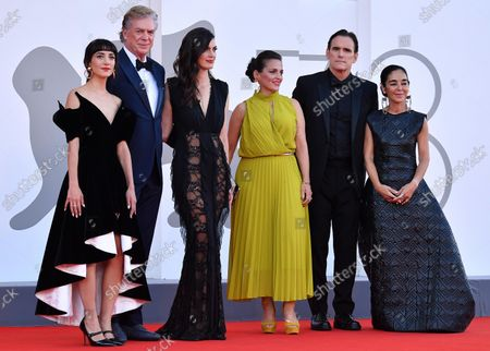 The cast of 'Land of Dreams'  Sheila Vand, US actor Christopher McDonald, a guest, German actress Nicole Ansari-Cox, US actor Matt Dillon, Iranian director Shirin Neshat arrive for the premiere of 'E' stata la mano di Dio' (The Hand of God) during the 78th Venice Film Festival in Venice, Italy, 02 September 2021. The movie is presented in the official competition 'Venezia 78' at the festival running from 01 to 11 September 2021.