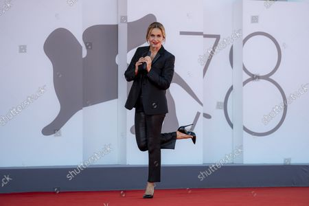 Actress Lucia Mascino poses for photographers on the red carpet of the film 'The Power Of The Dog' at the 78th edition of the Venice Film Festival in Venice, Italy