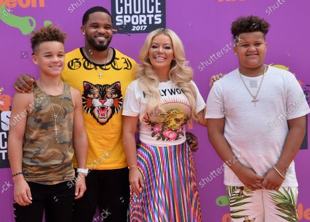MLB player Prince Fielder (2nd-L) and his wife Chanel Fielder and their sons Jayden Fielder (L) and Haven Fielder attend Nickelodeon's Kids' Choice Sports Awards 2017 at UCLA's Pauley Pavilion in Los Angeles on July 13, 2017.