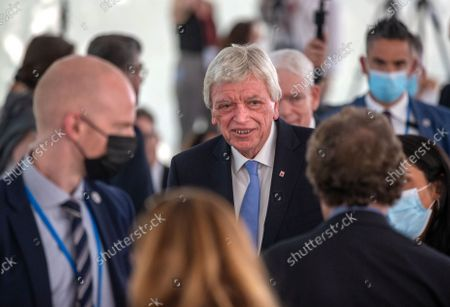 Volker Bouffier (C), Minister President of the state of Hesse takes part in the groundbreaking ceremony of the Jewish Academy in Frankfurt am Main, Germany, 02 September 2021. The Jewish Academy in Frankfurt is part of the educational program launched by the Central Council of Jews in Germany in 2013 and is scheduled for completion at the end of 2023.