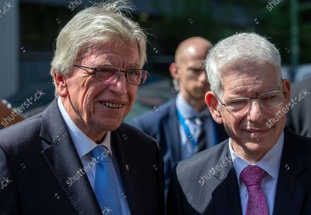 Stock Photo of Josef Schuster, President of the Central Council of Jews in Germany (R) and Volker Bouffier, Minister President of the State of Hesse (L) look on as they attend the groundbreaking ceremony of the Jewish Academy in Frankfurt am Main, Germany, 02 September 2021. The Jewish Academy in Frankfurt is part of the educational program launched by the Central Council of Jews in Germany in 2013 and is scheduled for completion at the end of 2023.