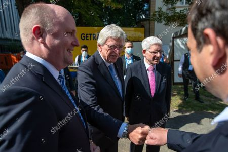 Stock Picture of Uwe Becker, Anti-Semitism Commissioner of Hesse (L), Volker Bouffier, Minister President of Hesse (C) and Josef Schuster, President of the Central Council of Jews in Germany (R) attend the groundbreaking ceremony of the jewish Academy in Frankfurt, Hesse, Germany, 02 September 2021. The Jewish Academy in Frankfurt is part of the educational program launched by the Central Council of Jews in Germany in 2013 and is scheduled for completion at the end of 2023.