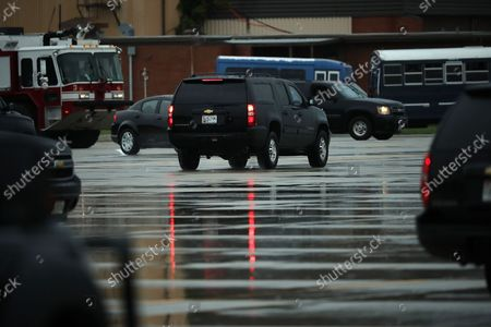 The vehicle carrying outgoing White House Chief of Staff Reince Priebus leaves ahead of the presidential motorcade July 28, 2017 at Joint Base Andrews, Maryland. President Donald Trump announced via Twitter that he had fired Priebus and was replacing him with Homeland Security Secretary John Kelly.