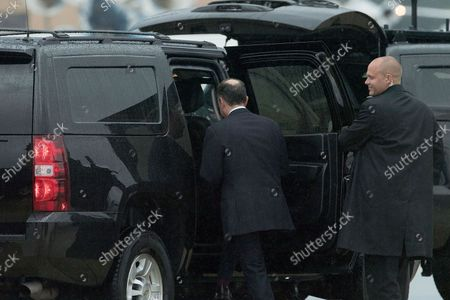 Outgoing White House Chief of Staff Reince Priebus climbs into a vehicle after stepping off of Air Force One July 28, 2017 in Joint Base Andrews, Maryland. President Donald Trump announced via Twitter that he had fired Priebus and was replacing him with Homeland Security Secretary John Kelly.