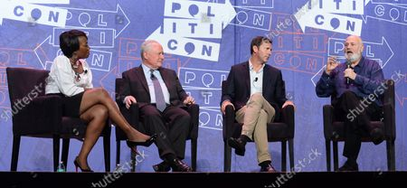 Stock Image of MSNBC host Joy Reid moderates a panel on LBJ with Bill Kristol, Mark Updegrove and Rob Reiner (L-R) during Politicon at the Pasadena Convention Center in Pasadena, California on July 29, 2017.