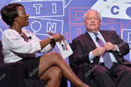 Stock Photo of MSNBC host Joy Reid moderates a panel on LBJ with Bill Kristol (pictured), and Mark Updegrove and Rob Reiner (L-R) during Politicon at the Pasadena Convention Center in Pasadena, California on July 29, 2017.