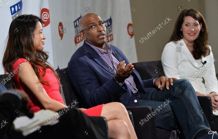Alejandra Campoverdi, Michael Steele and Alison Lundergan Grimes participate in the Art of the Campaign Strategy panel during Politicon at the Pasadena Convention Center in Pasadena, California on July 29, 2017.