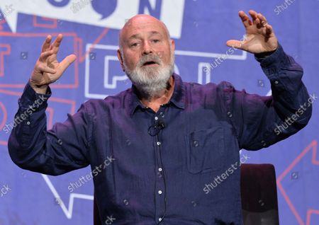 Actor Rob Reiner participates in a panel on LBJ with Joy Reid, Bill Kristol, and Mark Updegrove  during Politicon at the Pasadena Convention Center in Pasadena, California on July 29, 2017.