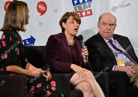 Krystal Ball, Amy Klobuchar (D-MN), and Robert Shrum participate in the 'What Now, Democrats?panel during Politicon at the Pasadena Convention Center in Pasadena, California on July 30, 2017.