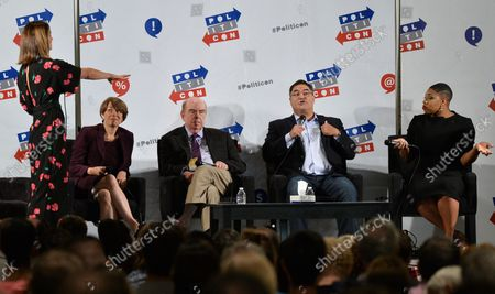 Krystal Ball, Amy Klobuchar (D-MN), Robert Shrum , Cenk Uygur and Symone Sanders (L-R) participate in the 'What Now, Democrats? panel during Politicon at the Pasadena Convention Center in Pasadena, California on July 30, 2017.