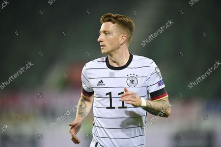 Germany's Marco Reus in action during the FIFA World Cup Qatar 2022 qualifying Group J soccer match between Liechtenstein and Germany, at the kybunpark Stadium, in St. Gallen, Switzerland, 02 September 2021.
